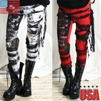 Womens High Wasit Slim Punk Rave Gothic Leggings Pants Skinny Steampunk Trousers