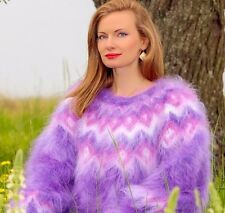 Purple hand knit mohair sweater fuzzy Icelandic thick cuddly jumper SUPERTANYA