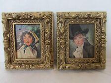 Vintage 1971 Burwood Products Plastic Framed Art Victorian Couple Lady Man Lot