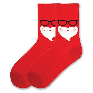 K.Bell Santa Claus Mustash Beard Glasses Ladies Red Cotton Blend Crew Socks New