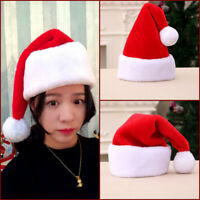 HQ Thick Deluxe Christmas Plush Pom Soft Santa Claus Fur Covered Adult Hat Gift