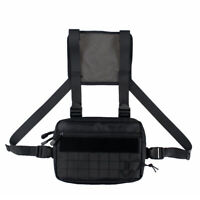 Fashion Nylon Chest Pack Hip Hop Streetwear Bag Functional Tactical Pack BK