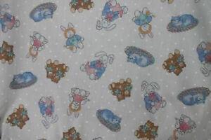 Baby Nursery Cot Bedding quilt Bumper polka teddy bunny doll cat print fabric -M