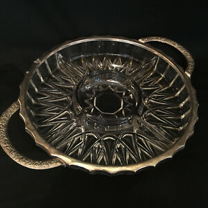 """ENGLISH BEAUTY """"Clear"""" Gorgeous Glass Serving Dish with Silverplated Metal Edge"""