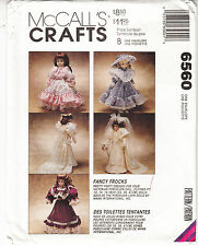 McCalls Doll Victorian Wedding Party Dresses Fancy Frocks Sewing Pattern 6560