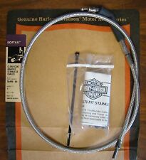 HARLEY PART 56499-05 CLEAR COAT BRAIDED STAINLESS THROTTLE IDLE CABLES  NOS OEM