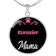 """Eurasier Mama Necklace Circle Pendant Stainless Steel Or 18K Gold 18-22"""" Dog Mom"""