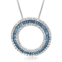 1.22 Ct Baguette Round Natural Diamond Circle Necklace Pendant Sterling Silver