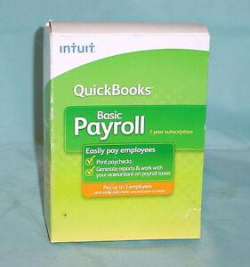 NIB QuickBooks Basic 2009 Payroll Intuit Small Business 1-3 Employee Year Script