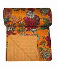 Ethnic Kantha Quilt Tropical Cotton Bedspread Bohemian Reversible Bedspread Art