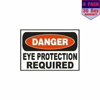 Danger Eye Protection Required Safety Sign OSHA 4 pack 4x4 Inch Sticker Decal