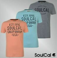 Mens SoulCal Short Sleeves Printed Textured Flecked T Shirt Sizes from S to XXL