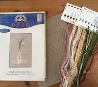 "DMC Deco Pink Flowers Cross Stitch Kit 12"" x 6"" Linen Threads Beads Instructions"