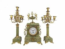 Antique French 1920 Mantel Clock and Pair of Candelabra Green Onyx and Bronze