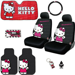 FOR TOYOTA 8PC HELLO KITTY CAR TRUCK SEAT STEERING COVERS MATS ACCESSORIES SET