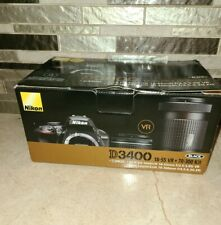 NEW Nikon D3400 DLSR Digital Camera 18-55 VR + 70-300 24.2MP 1080/60p Full HD