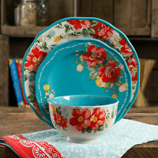 The Pioneer Woman Vintage Floral 12 Piece Dinnerware Set Teal Durable Stoneware