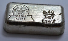 9.48 Troy Oz Rare OLD STAR METALS  .999 Fine Silver Poured Bar 9.48 ozt !