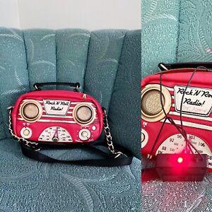 EXCELLENT Vintage Rare Betsey Johnson Radio Speakers Bag Red Rockabilly Works