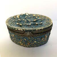 Vintage Trinket Jewelry Box Brass Hand Painted Blue Gold -Tone Velvet Lining