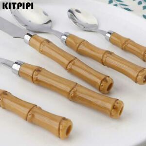Tableware Bamboo Handle Cutlery Steel Cutlery Set Consists Spoon Fork Z8H3