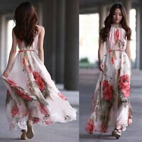 Women's Summer Boho Chiffon Long Maxi Evening Party Beach Dress Floral Sundress