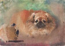 IMPRESSIONIST PEKINGESE DOG PORTRAIT Oil Painting c1950