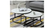 Coffee Table Round Marble Top with Matt Black Base Nest of Two BRAND NEW