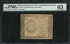 CC-85CT $50 CONTINENTAL CURRENCY CONTEMPORARY REPRINT PMG 63 CHOICE UNC HW1765