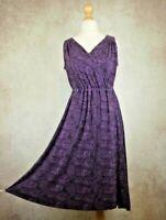 Brora Purple Floral Sleeveless Dress Size UK 12 Faux Wrap Stretch