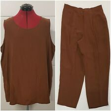NWT Lord And Taylor 100% Silk 2 Piece Brown Dress Pants And Top Set Size 2X