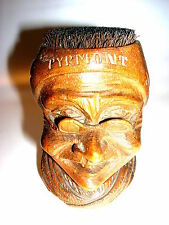 Antiker geschnitzter Holzkopf Feder Abstreicher Alte Frau mit Brille Pyrmont