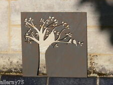 FRENCH WALL ART DECOR tree + love birds  metal cut out rust  new