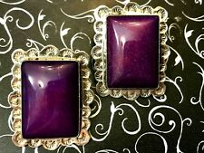 Navajo ULTRA RARE JUMBO GEL SUGILITE Purple Stone & Sterling Earrings Signed DLF