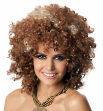 1970's COSTUME WIG Loose Afro Big Brown Disco Fancy Dress Party by Allaura Wigs