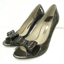 Ted Baker Ladies Peep Toe High Heel Shoes Size UK 7 Brown Patent Leather 281384