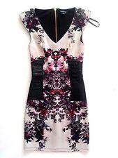 NWT BEBE black multi color floral v neck Leather gold zipper back top dress XS
