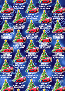 LIGHTNING MCQUEEN Personalised Christmas Gift Wrap - Disney Cars Wrapping Paper