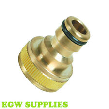 """BRASS 3/4"""" THREADED TAP CONNECTOR- FITS HOZELOCK 1/2"""" SNAP FITTINGS GARDEN HOSE"""