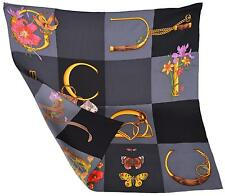 New Gucci Butterflies Handbags Horsebit Pattern Black Silk Twill Square Scarf