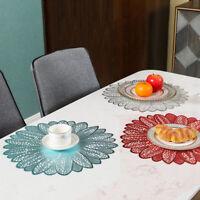 4Pcs PVC Flower Lace Placemat Dining Table Place Mat Home Desktop Decoration