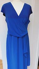 Jacques Vert blue waterfall jersey dress UK 20