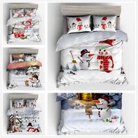 3D Christmas Snowman Duvet Cover Pillowcase Bedding Set Twin Full Queen King