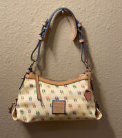 Vintage Dooney & Bourke Signature Cream Rainbow Logo Hobo Shoulder Purse Bag
