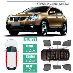 6pcs Side Windows Magnetic Sun Shade UV Ray Blocking Mesh Fit For Nissan Qashqai