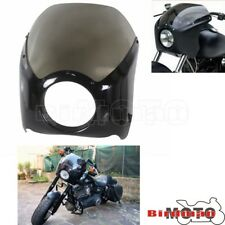 Smoked Motorcycle Mask Front Headlight Fairing Windscreen Kit For Harley Custom