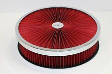 "14"" X 3"" Chrome Round Red High Flow Thru Washable Air Cleaner Drop Base SBC 350"