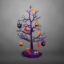 Sparkling Color Changing Halloween Tree with Ornaments, Purple, Macabre