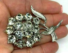 Vintage Silver Tone White Rhinestone Flower Brooch Pin
