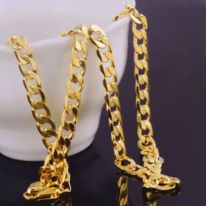 """6mm Solid 18k Yellow Gold Plated Men's Cuban Curb Necklace Chain 20"""" + vel pouch"""